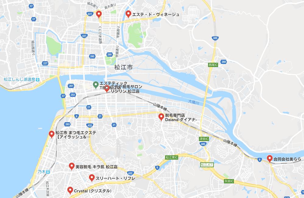 松江市のサロン(地図)